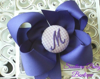 New Item---Boutique Monogrammed Baby Toddler Girl Hair Bow Clip---GINGHAM---Purple and Lavender---Letter M--Ready to Ship