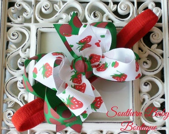 New Item---MINI Boutique Double Layered Hair Bow Headband---Strawberry Market---Red and Green----