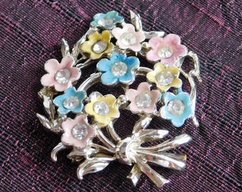 Vintage Enamel Floral Brooch - Tiny Pastel Flowers with Clear Rhinestone Centers - Pink, Yellow & Blue Flowers, Silvertone Metal - 1950s