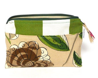 Green stripe and floral cosmetic bag, make-up bag, gadget bag One of a Kind