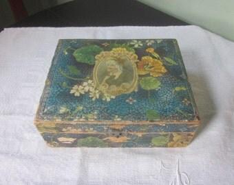 Antique Art Nouveau Decoupage Handkerchief Box