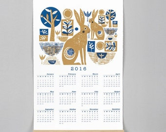 Limited edition 2 colour screenprinted 2016 calender by Jane Ormes