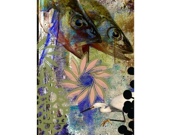 Fish Collage Art, Citra Solv Design, Olive Green Pink Gray, Mixed Media Photomontage, Aquatic Wall Hanging, Home Decor, Giclee Print, 8 x 10