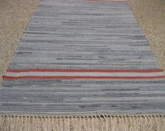 Handwoven Denim w/ Red Borders Rag Rug 25 x 53 (A) (M)