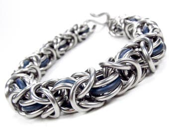 Thick Blue - Chainmaille Bracelet - Byzantine