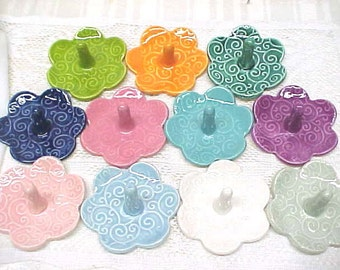 Fancy Swirls Ring Holder, Blossom Shape, Your Choice, Tangerine Orange, Elegant White, Baby Blue, Fuchsia Purple, Tea Rose Pink, Turquoise
