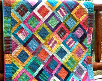 Quilt Lap Throw Colorful Ombre Stripes V&Co Loominous Anna Maria Horner Scrappy Patchwork Colorful Bright Squares Summer Beach Picnic