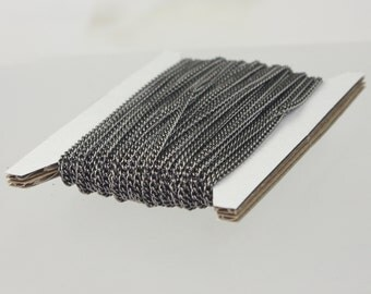 New 10 ft spool of Gunmetal Plated SOLDERED sturdy curb chain - 2.1mm SOLDERED link - Ship from California USA