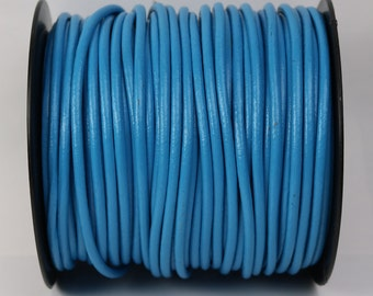 5 feet Light Blue Leather Cord - 3mm Genuine Leather Round Cord - USA Seller