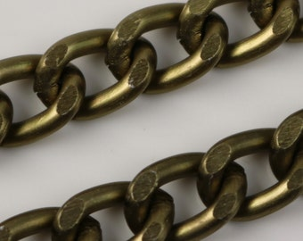 5 ft Aluminum Chain Facet Curb Chain - Antique Brass - 7x11mm 2mm thickness Chunky Unsoldered Link
