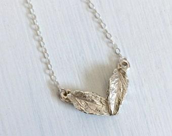 Modern Geometric Sterling Silver Bib Leaf Necklace