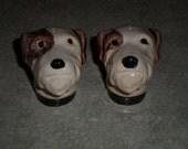 Rosemead Pottery North Dakota USA vintage Fox Terrier Dog salt & pepper SHAKERS