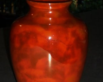 Fraunfelter China Roseville Ohio USA tangerine pumpkin orange blend luster urn VASE