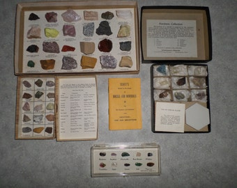 4 vintage cabinet Collection Rocks & Minerals Semiprecious Gem Stones, Hardness Collection, composition and use - Scott's Guide Study 1954