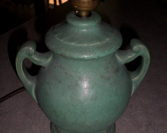 Brush McCoy Pottery green vellum Arts & Crafts LAMP with handles