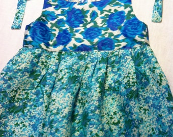 Vintage Rayon and Cotton Pinafore Dress Blue, Teal and Green size 2 by Barneche/ Stephanie Barnes