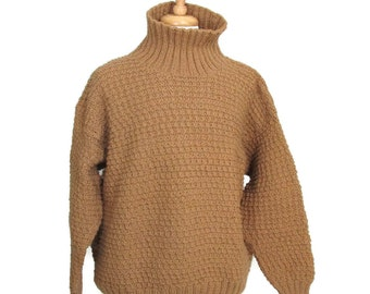 Men Turtleneck Sweater, Brown Sweater Hand Knit in Size Large
