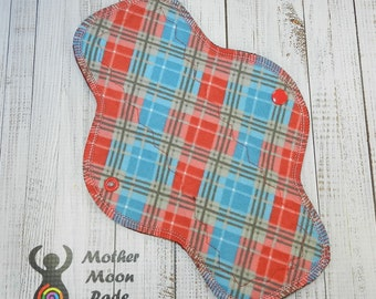 "10"" Cotton Moderate Cloth Pad, Reusable Cloth Menstrual Pad, Plaid Cotton Flannel, WINDPRO fleece, Day Pad, Regular Flow, by MotherMoonPads"