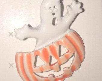 RARE 1960s-70s Vintage HALLOWEEN Pin Ghost Popup Pumpkin Design