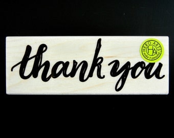 HANDWRITTEN THANK YOU 2016 Hero Arts Wood Mount Rubber Stamp