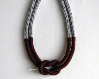 Statement necklace. Multistrand wool necklace. Light grey, maroon red.