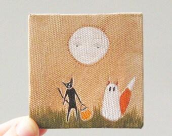 tiny halloween / original painting on canvas