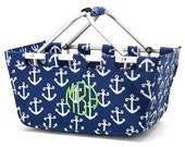 Monogrammed Just For You Navy Anchor Mini Market Tote