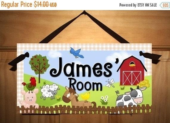 THANK YOU SALE Farm Animal Childrens Bedroom Nursery Door Sign Wall Art Plaque Ds0031