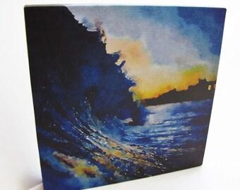 Ocean Wave Art - Ocean Decor - Ocean Art Print - Surf Art Print - Beach Print - Photography Print - Canvas Art - Digital Art Watercolor 8x8