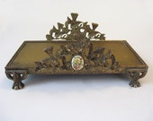 Unique Ormolu Base or Vanity Stand Tray with Birds Decoration Floral Oval