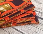 Reserved listing 10 African print napkins. Retro Orange cotton. Made to order napkin wedding accessories, chillipeppa