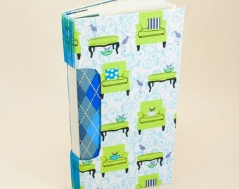 Blank Book with a Sitting Room and Birds Nest Fabric Cover