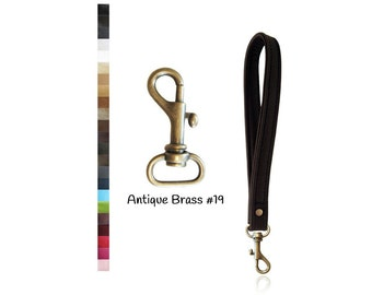 ON SALE Leather Wristlet Strap - Antique Brass 19 Swivel Hook - Your Choice of Leather & Width