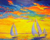 SAILBOATS ACRYLIC PAINTING, large artwork living room decor, red yellow blue hues, expressive vivid colors, original and unique art, sunset