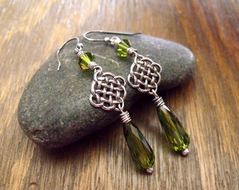 """Sterling Silver Celtic Knot Earrings with Rare Vintage Swarovski Olivine Crystals, St. Patrick's Day Jewelry """"Celtic Woods"""""""