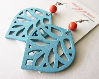 Aqua Blue Leaf Charms and Orange Stone Bead Earrings
