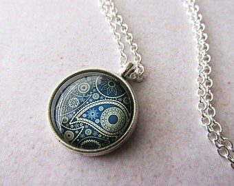 Blue Paisley Glass Dome Pendant Necklace