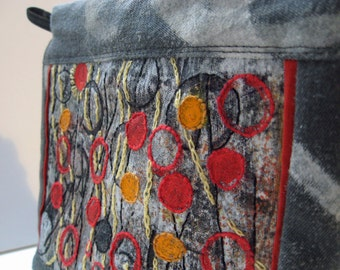 Gray and red embroidered and painted grunge zipper pouch