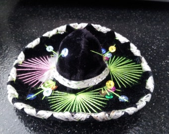 Vintage BLACK Neon Mini Sombrero For Pet