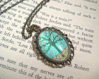 Turquoise Tree Necklace Teal Blue Necklace Vintage Brass Necklace