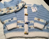 Boys Crocheted Sweater and Hat Set with Dump Truck Buttons