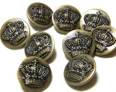 Antiqued Bronze Crown Buttons - Two Piece Metal Buttons with Shanks - Set of 9 - One Inch