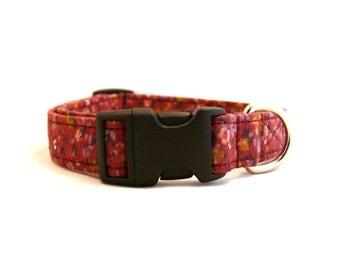 Mauve floral dog collar - Yellow floral pet collar - Floral dog collar - Mauve pet collar - Nowhere Flowerfield adjustable dog collar