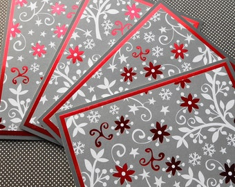 Holiday Card Set : 4 Hand-Stamped Greeting Cards with Matching Embellished Envelopes - Holiday Elegance