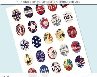 Oval Digital Collage Images USA Patriotic 4th of July 30x40 22x30 18x25 13x18  Digital Collage Sheet for Glass and Resin Pendants Cameos JPG