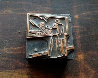 Antique Copper Printers Block - Couple viewing baby at Maternity Ward