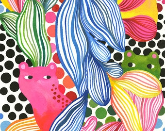 Spotted Leopards... original watercolor... 9 in x 12 in...