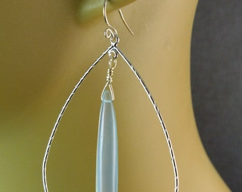 The Bachata Hoop Earrings - Matte Silver Hoops with Long Light Blue Chalcedony Briolettes and Sterling Silver French Earwires