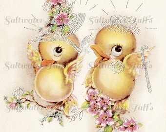 Love Birds in Spring Bonnets Vintage Image Digital Download  1940's clipart little sweet bird couple wedding adorable easter chicks