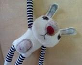 Sad Bunny - white plush gothic  emo style toy, stuffed toy rabbit for teens